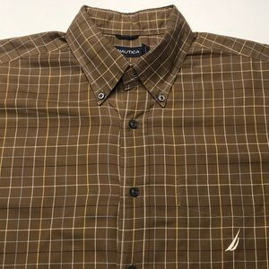 NAUTICA Mens Brown Long Sleeve Dress Shirt